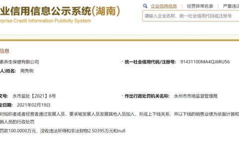湖南虾青素养生保健有限公司因涉嫌传销被罚没102万多元