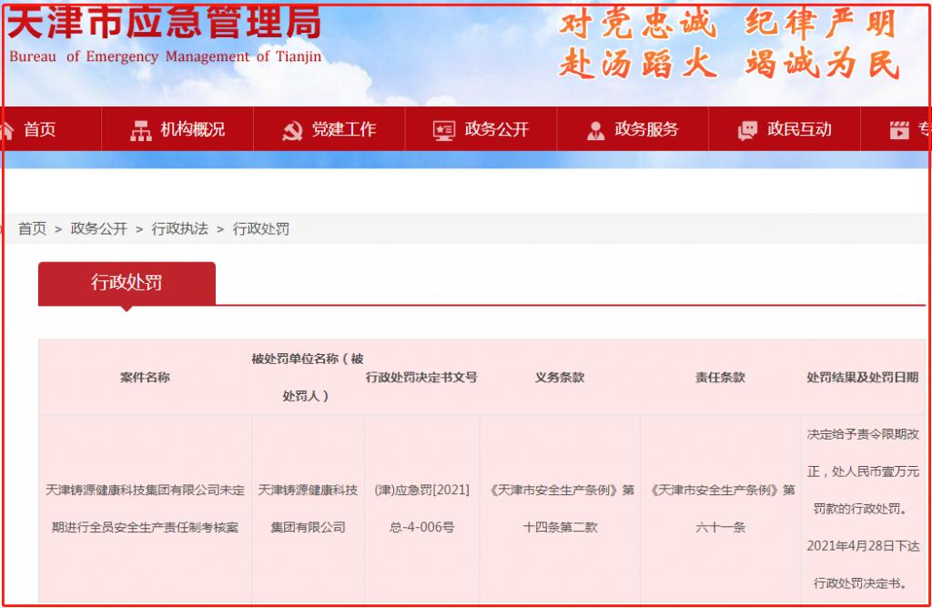 天津铸源集团遭罚1万元,未定期进行全员安全生产责任制考核
