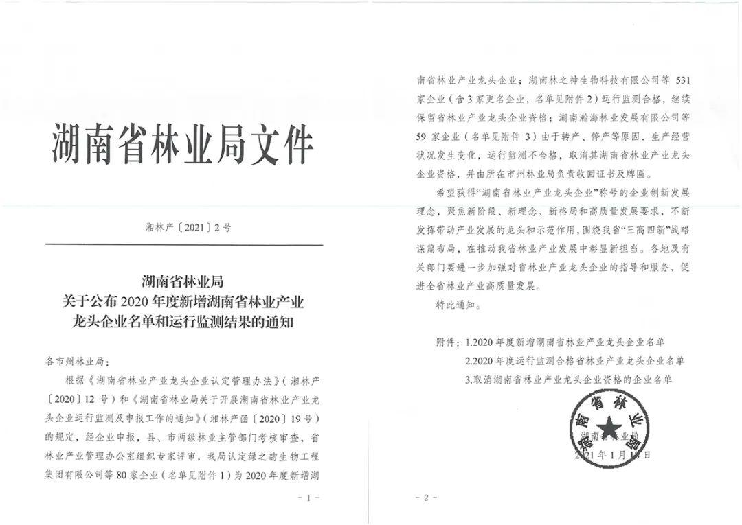 """绿之韵集团荣获""""湖南省林业产业化龙头企业""""称号"""
